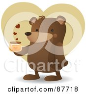 Royalty Free RF Clipart Illustration Of A Happy Brown Bear Standing And Holding A Jar Of Honey Over A Tan Heart