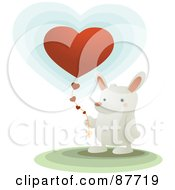 Sweet White Bunny Holding A Heart Balloon With A String Of Hearts