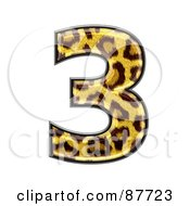 Royalty Free RF Clipart Illustration Of A Panther Symbol Number 3
