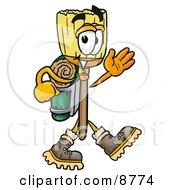 Broom Mascot Cartoon Character Hiking And Carrying A Backpack
