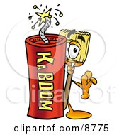 Clipart Picture Of A Broom Mascot Cartoon Character Standing With A Lit Stick Of Dynamite by Toons4Biz