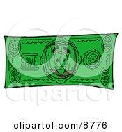Broom Mascot Cartoon Character On A Dollar Bill