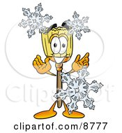 Broom Mascot Cartoon Character With Three Snowflakes In Winter