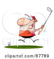 Royalty Free RF Clipart Illustration Of An Excited Toon Guy Swinging His Golf Club by Hit Toon