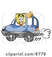 Broom Mascot Cartoon Character Driving A Blue Car And Waving