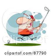 Royalty Free RF Clipart Illustration Of An Energetic Toon Guy Swinging His Golf Club