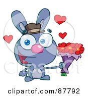 Sweet Blue Bunny Holding A Bouquet Of Valentines Flowers