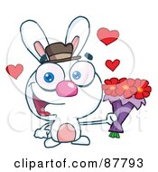 Sweet White Bunny Holding A Bouquet Of Valentines Flowers