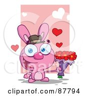 Romantic Pink Bunny Holding A Bouquet Of Valentines Flowers