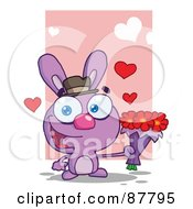 Royalty Free RF Clipart Illustration Of A Romantic Purple Bunny Holding A Bouquet Of Valentines Flowers by Hit Toon