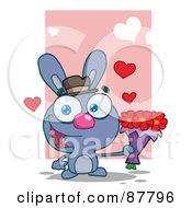 Romantic Blue Bunny Holding A Bouquet Of Valentines Flowers