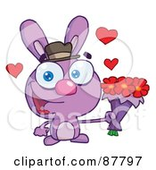 Sweet Purple Bunny Holding A Bouquet Of Valentines Flowers