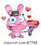 Sweet Pink Bunny Holding A Bouquet Of Valentines Flowers