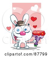 Romantic White Bunny Holding A Bouquet Of Valentines Flowers
