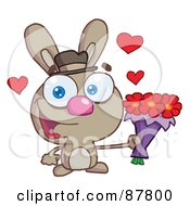 Royalty Free RF Clipart Illustration Of A Sweet Brown Bunny Holding A Bouquet Of Valentines Flowers