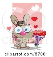 Romantic Brown Bunny Holding A Bouquet Of Valentines Flowers