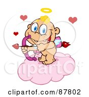 Happy Baby Cupid Ready To Do Some Match Making From A Cloud