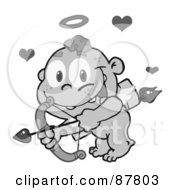 Grayscale Cupid Flying With An Arrow Halo And Hearts
