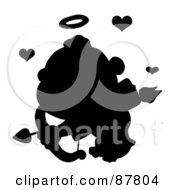 Black Silhouetted Cupid Flying With An Arrow Halo And Hearts