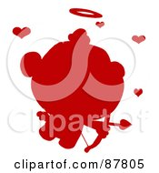 Red Cupid Silhouette Flying With An Arrow Halo And Hearts