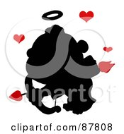 Black Cupid Silhouette Flying With An Arrow Halo And Red Hearts
