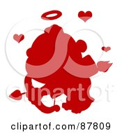 Red Silhouetted Cupid Flying With An Arrow Halo And Hearts
