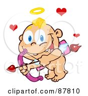 Happy Flying Baby Cupid Ready To Do Some Match Making