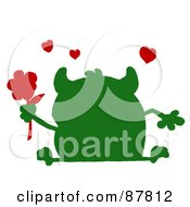Green Silhouetted Monster Holding A Red Flower With Red Hearts