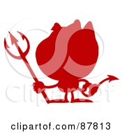 Royalty Free RF Clipart Illustration Of A Solid Red Silhouette Of A Devil