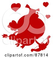 Royalty Free RF Clipart Illustration Of A Solid Red Silhouette Of A Pig Cupid