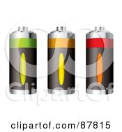 Royalty Free RF Clipart Illustration Of A Digital Collage Of Three Rechargeable Batteries At Different Charge Levels