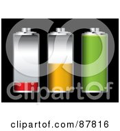 Royalty Free RF Clipart Illustration Of A Digital Collage Of Three Batteries At Different Charge Levels by michaeltravers