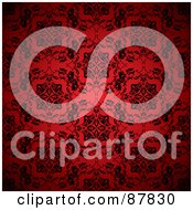 Royalty Free RF Clipart Illustration Of An Ornate Black And Red Floral Patterned Wallpaper Background by michaeltravers