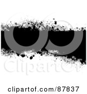 Royalty Free RF Clipart Illustration Of A Black Grunge Banner Over White Version 1 by michaeltravers