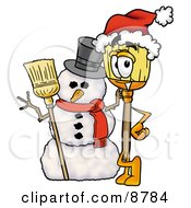 Clipart Picture Of A Broom Mascot Cartoon Character With A Snowman On Christmas by Toons4Biz