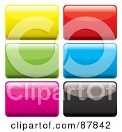 Royalty Free RF Clipart Illustration Of A Digital Collage Of Colorful Shiny Rectangular App Buttons On White by michaeltravers