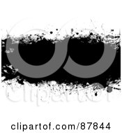 Royalty Free RF Clipart Illustration Of A Black Grunge Banner Over White Version 1