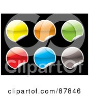 Royalty Free RF Clipart Illustration Of A Digital Collage Of Blank Shiny Colorful Stickers On Black