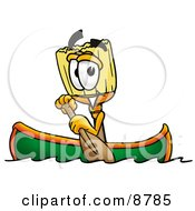 Broom Mascot Cartoon Character Rowing A Boat