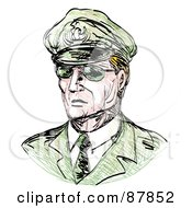 Royalty Free RF Clipart Illustration Of A Sketched General In Shades by patrimonio