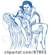 Royalty Free RF Clipart Illustration Of A Blue Sketch Of A Vampire Carrying A Female Victim In His Arms