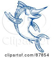 Royalty Free RF Clipart Illustration Of A Leaping Blue Marlin Line Drawing