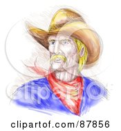 Royalty Free RF Clipart Illustration Of A Sketched Cowboy In A Hat