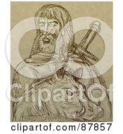 Royalty Free RF Clipart Illustration Of A Brown Sketch Of Freyr And A Boar