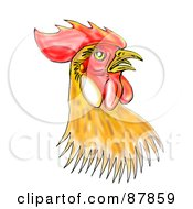 Royalty Free RF Clipart Illustration Of A Brown And Red Rooster Head