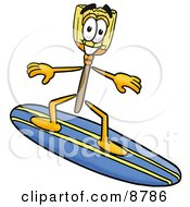 Clipart Picture Of A Broom Mascot Cartoon Character Surfing On A Blue And Yellow Surfboard