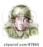Royalty Free RF Clipart Illustration Of A Sketched WWII Soldier