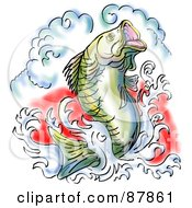 Royalty Free RF Clipart Illustration Of A Largemouth Bass Leaping Out Of Water