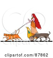 Royalty Free RF Clipart Illustration Of The Goddess Freyja Riding On A Charoit Pulled By Two Cats Her Boar Running At Her Side by patrimonio