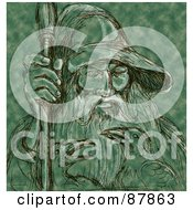 Royalty Free RF Clipart Illustration Of A Black Sketch Of Odin And Ravens On Green